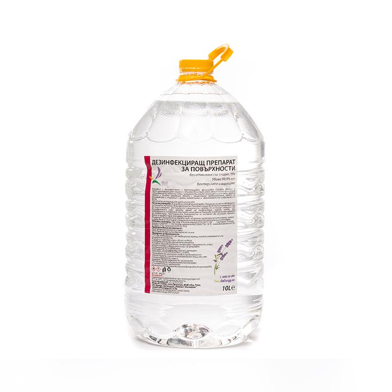 Дезинфекциращ препарат за повърхности без отмиване със спирт 70% – 10 л.